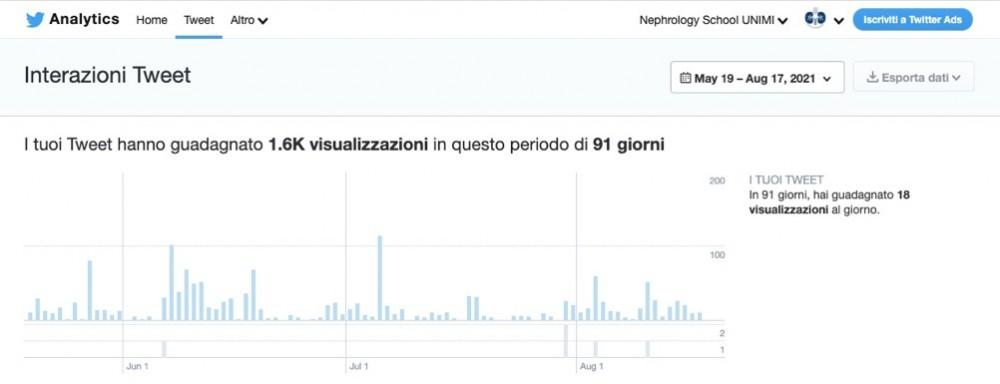 Visualizzazioni della pagina Twitter della Scuola di Nefrologia UNIMI